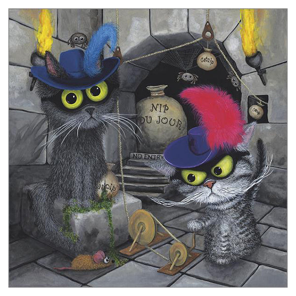 'Catnip Bandits' Cat Greeting Card by Tamsin Lord
