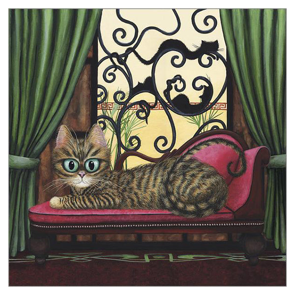'Deco Divas' Cat Greeting Card by Tamsin Lord