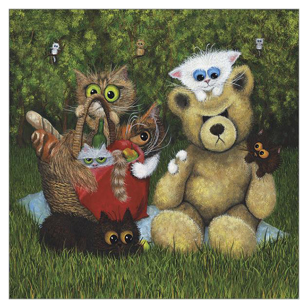 'Teddy Bear Picnic Takeover' Cat Greeting Card by Tamsin Lord