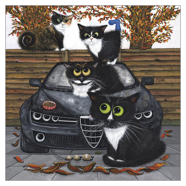 'The Fiendish Feline Autumnal Standoff' Cat Greeting Card by Tamsin Lord