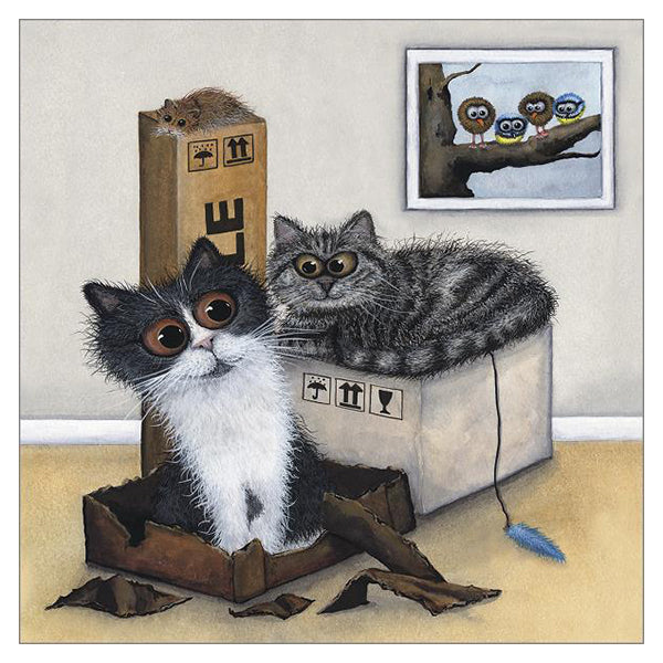 'The Good, the Bad and the Hungry' Cat Greeting Card by Tamsin Lord