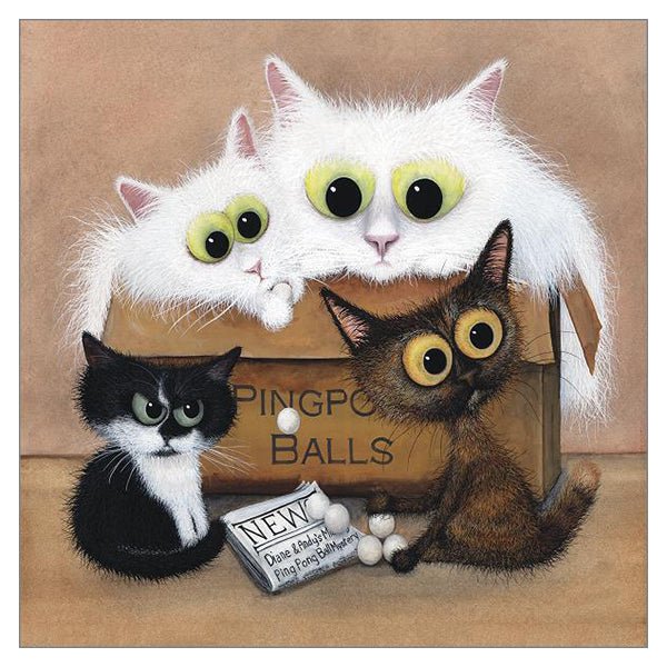 'The KKM Gang' Cat Greeting Card by Tamsin Lord