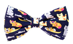 Blue Colourful Novelty Cat Bow Tie