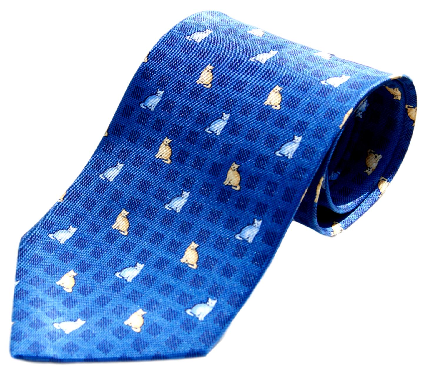 Blue Cats on Squares Novelty Cat Neck Tie