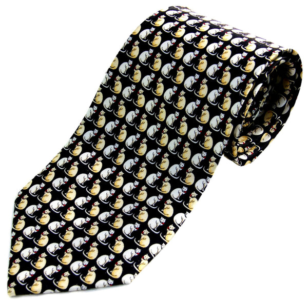Black with Gold Cats Novelty Cat Silk Neck Tie