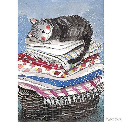 Cat Laundry Basket Tea Towel