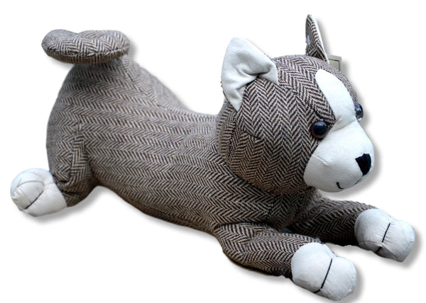 Herringbone Tweed Cat Door Stop
