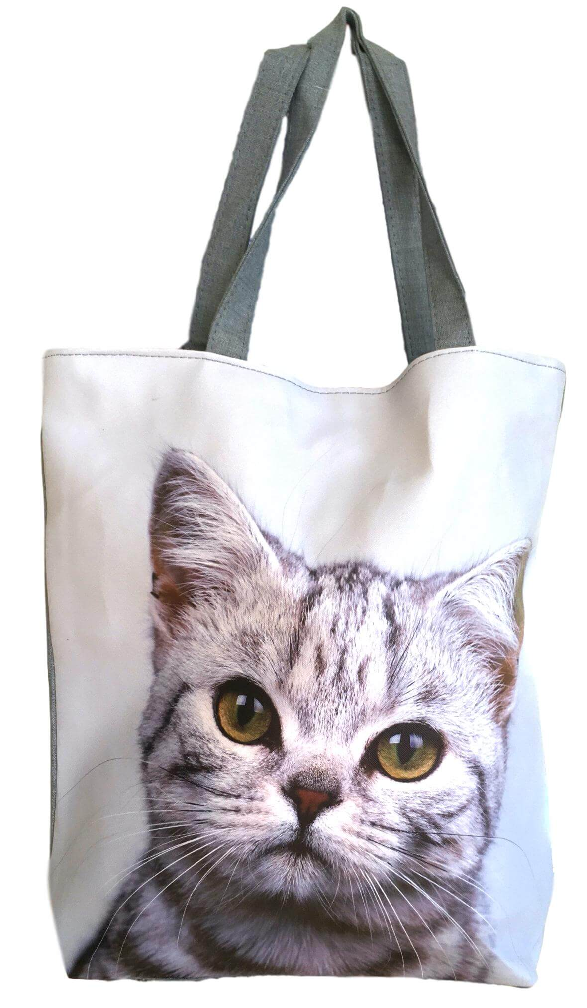 Tibby Grey Cat Kitten Beach Shoulder Tote Bag