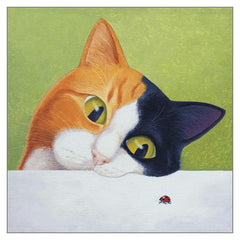 'Cat with Ladybird' Cat Greeting Card