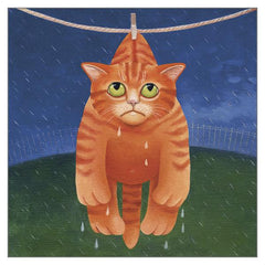 'Drying in the Rain' Cat Greeting Card