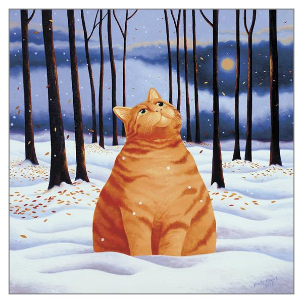 'First Snow' Ginger Cat Christmas Card