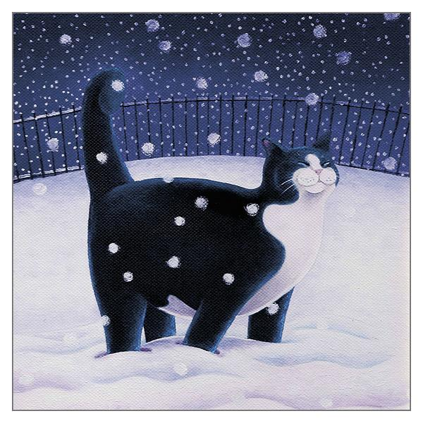 'Happy Larry' Black & White Cat Christmas Card