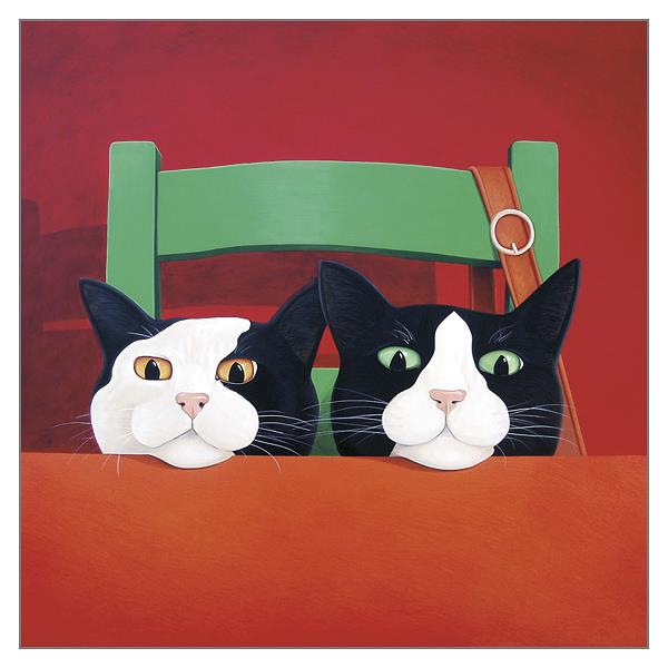 'Waiting for Dinner' Cat Greeting Card