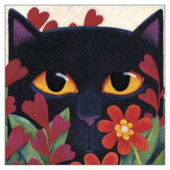 'Black Cat 'n' Flowers' Cat Greeting Card