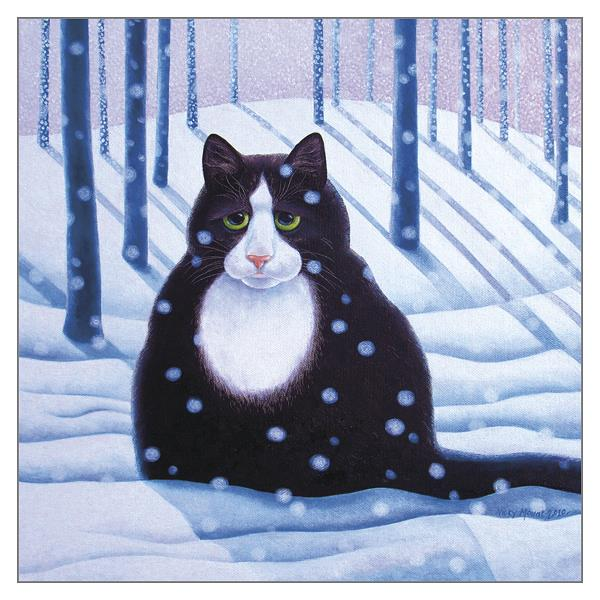'Brian' Funny Christmas Cat Greeting Card by Vicky Mount
