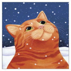 'Ginger Cat in Snow' Cat Christmas Card