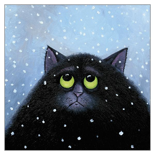 'Snow Again' Christmas Cat Greeting Card by Vicky Mount