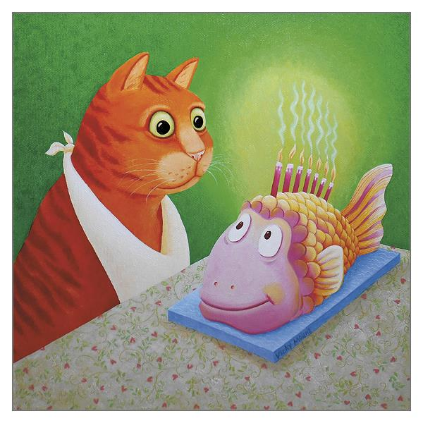 'Fishcake' Cat Greeting Card