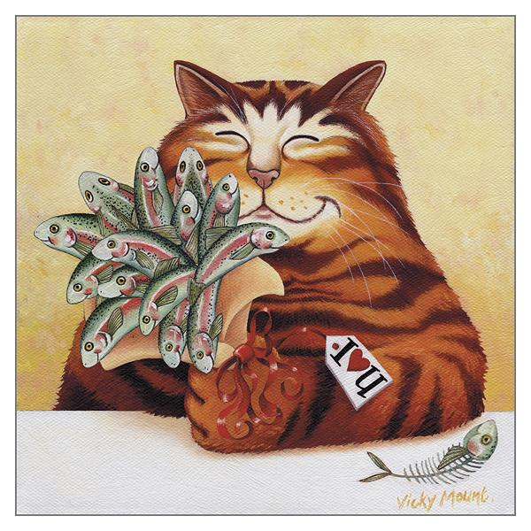 'Say it with Fish' Cat Greeting Card