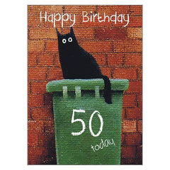 'Bin Dave 50' Cat Greeting Card