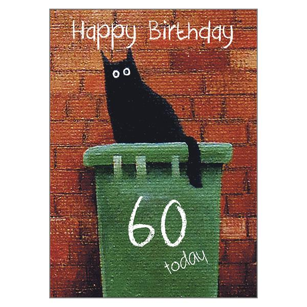 'Bin Dave 60' Cat Greeting Card