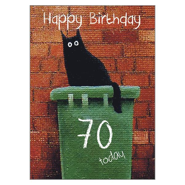 'Bin Dave 70' Cat Greeting Card