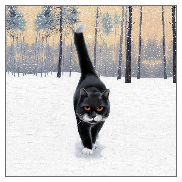'A Walk in the Park' Black Cat Christmas Greeting Card by Vicky Mount