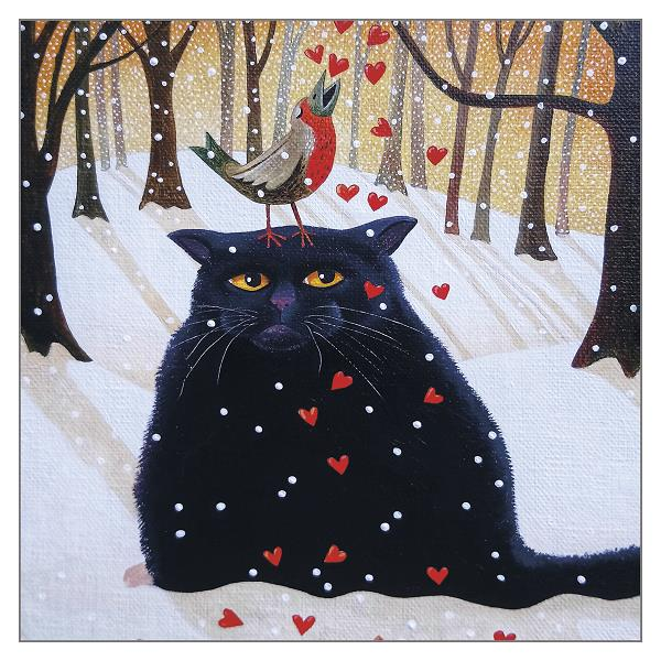 'Black Cat in Snow' Funny Christmas Cat Greeting Card by Vicky Mount