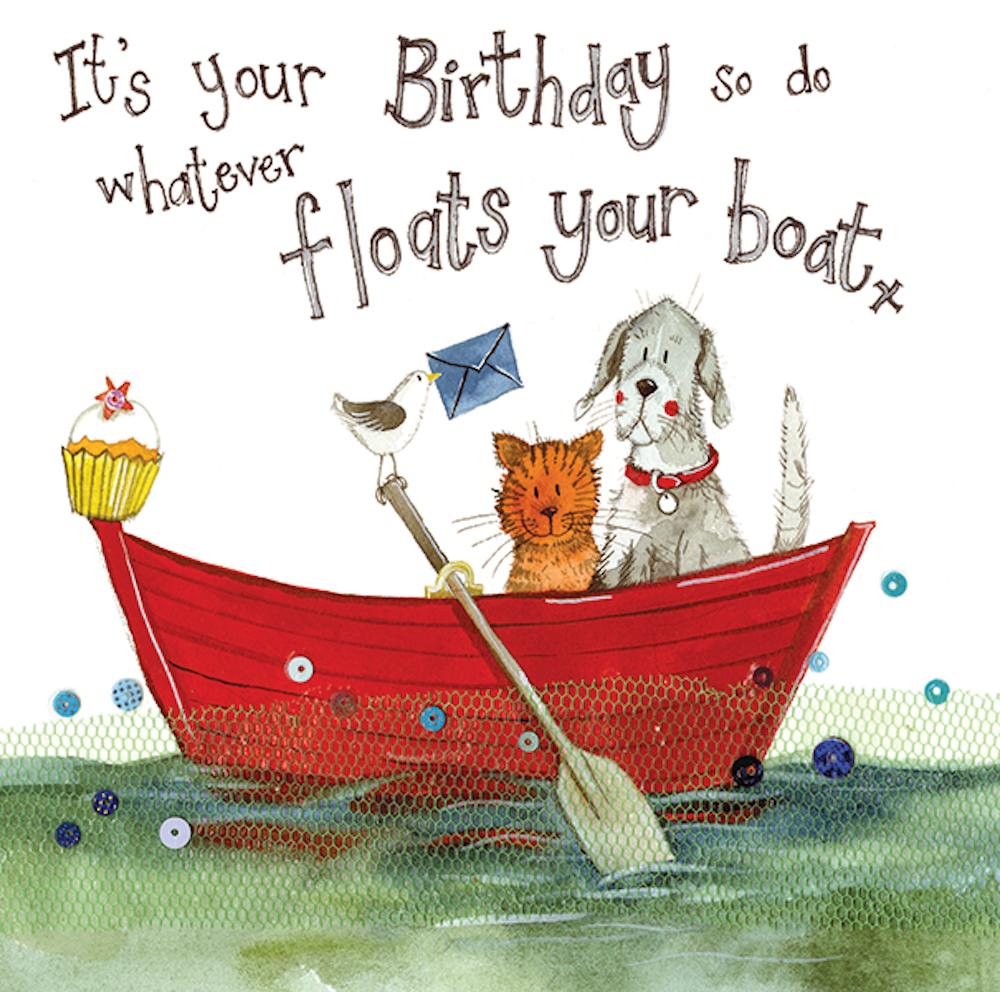 Float Your Boat Cat Birthday Card