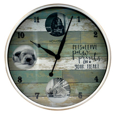 Hometime Round Photo Wall Clock 'Pets Leave Pawprints'