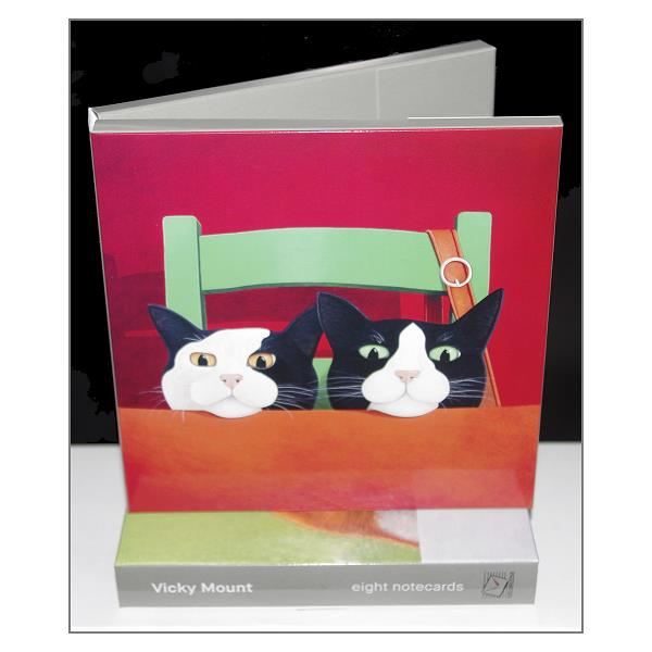 Vicky Mount Cat Notecards, 4 Cat Designs, Set of 8