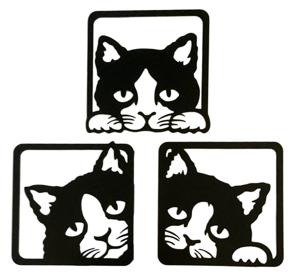 Metal Black Cat Peeping Wall Art Set Of 3