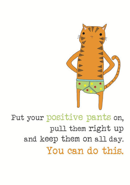 Positive Pants Cat Greetings Good Luck Card