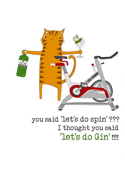 Spin & Gin Cat Greeting Card