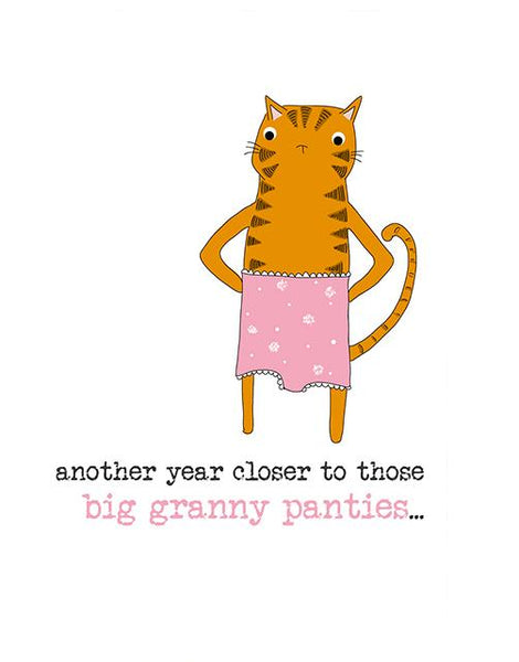 Big Granny Panties Cat Greeting Card
