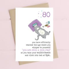80 - Rock Star Multi Vitamins Cat Greeting Card