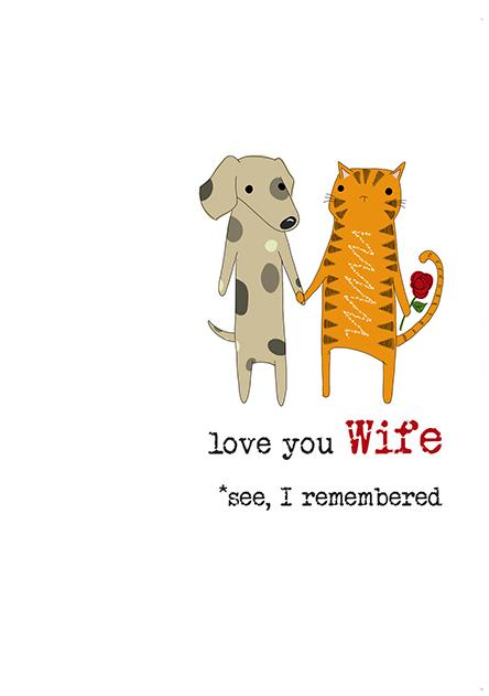 Wife I Remembered Cat Greetings Anniversary Valentine's Day Card