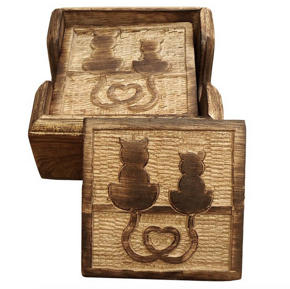 Rustic Wooden Cat Coasters