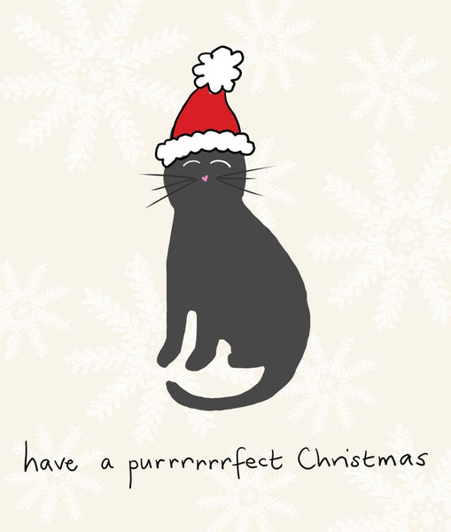 Purrrrfect Christmas Funny Cat Christmas Greeting Card