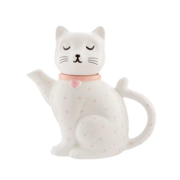 Cutie Cat Polka Dot Hearts Teapot
