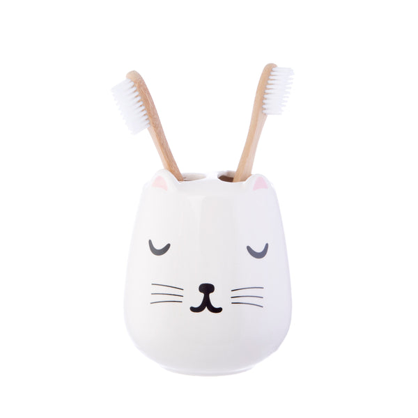 Cutie Cat Ceramic Toothbrush Holder