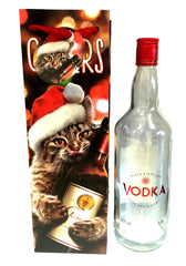 Cat and Wine Christmas Bottle Gift Bag