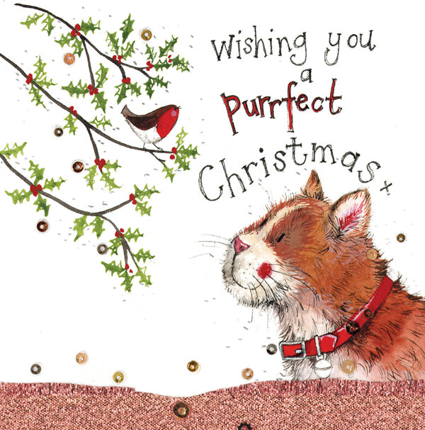 Purrfect Christmas Cat Sparkle Greetings Card