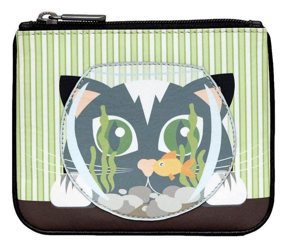 Lichfield Leather Yoshi Cat & Fish Bowl Coin Purse
