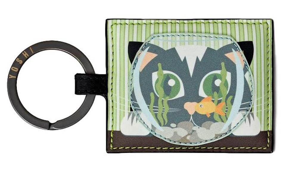 Lichfield Leather Yoshi Cat & Fish Bowl Keyring