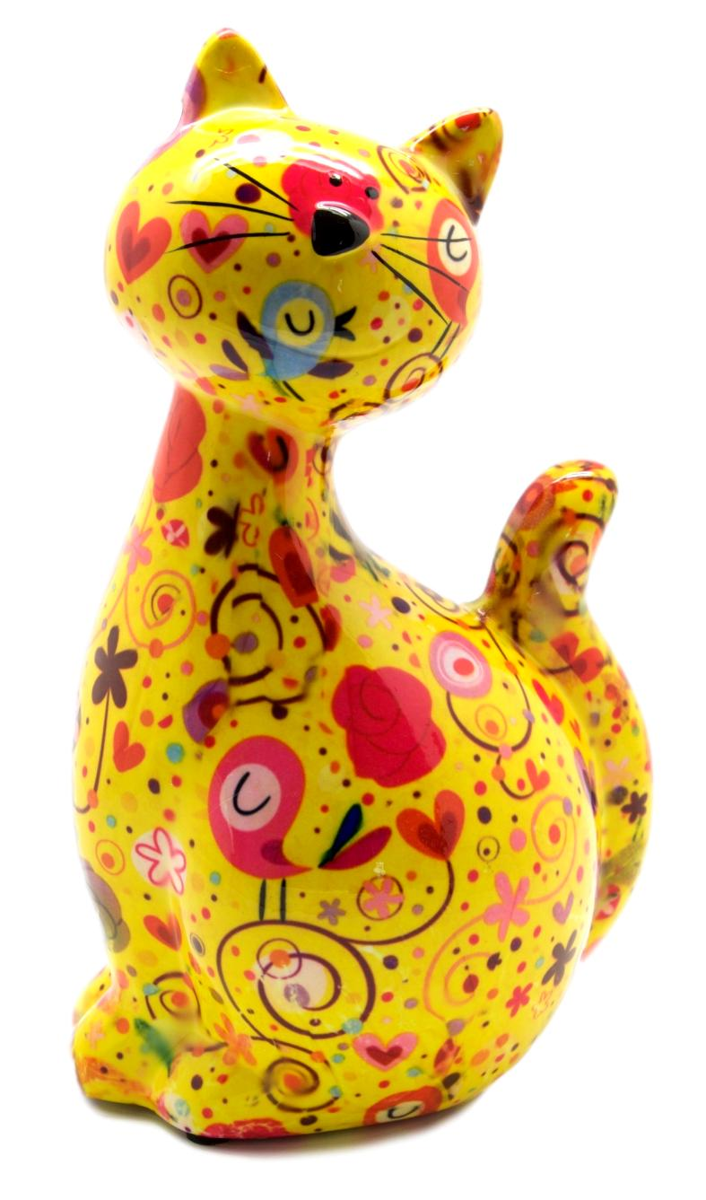 Yellow Ceramic Pomme Pidou Caramel Cat Money Box