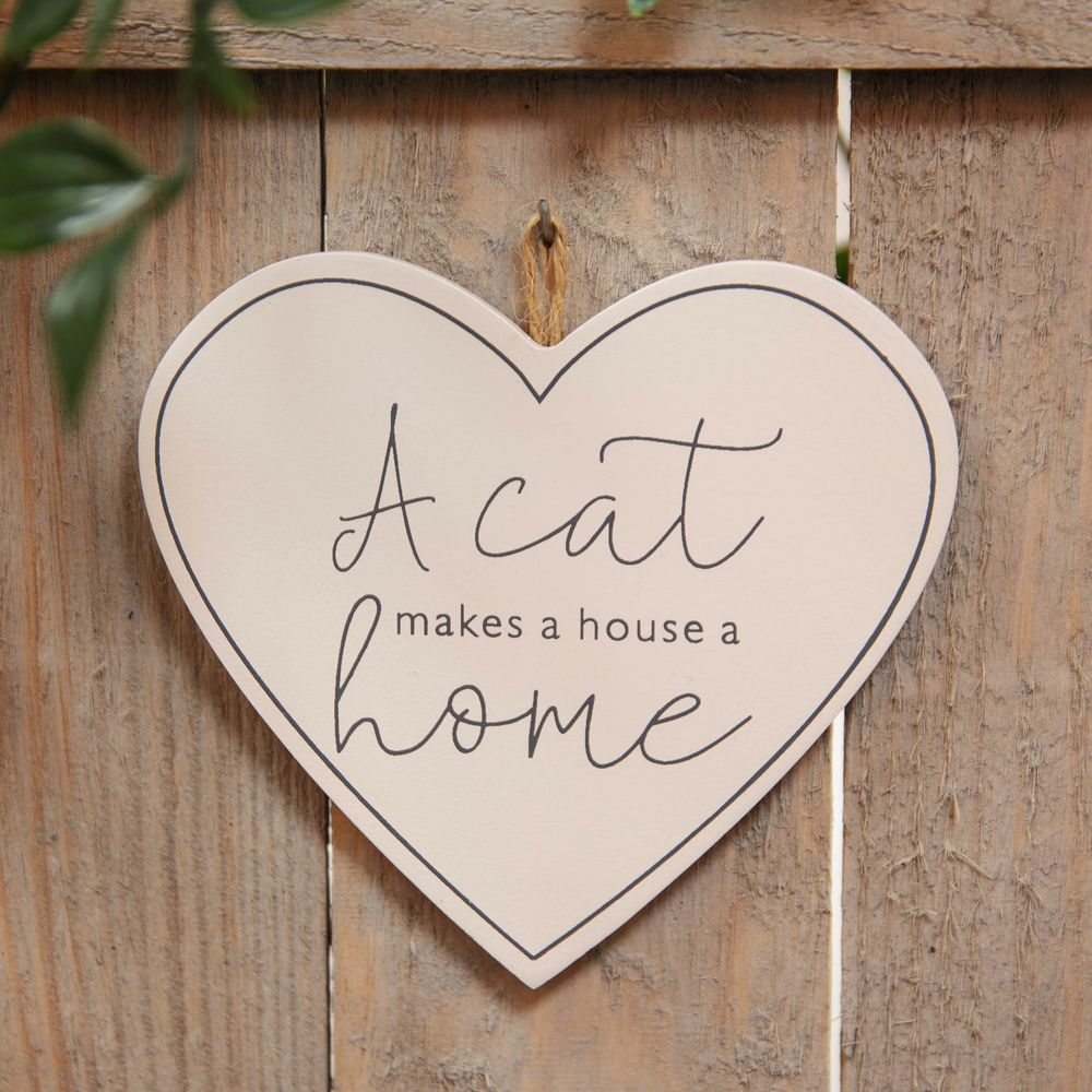 White Hanging Cat Plaque A Cat Makes a House a Home