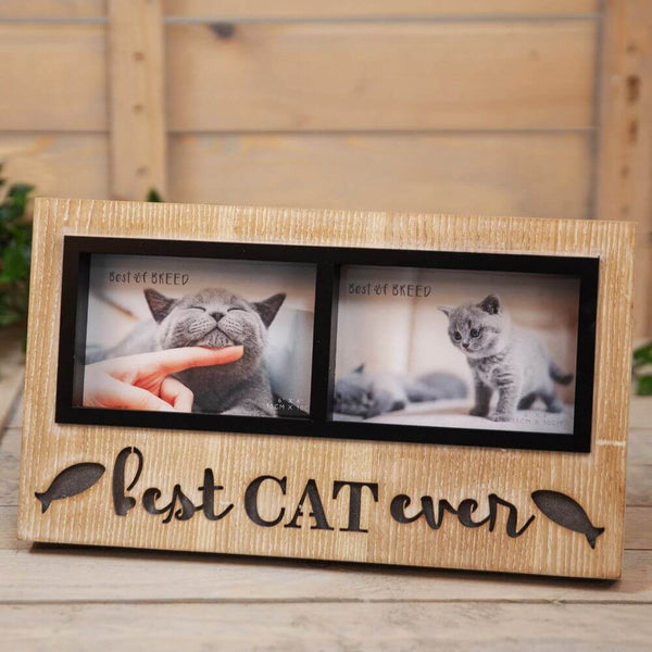 Best Cat Ever Light Up Double Wooden Photo Frame