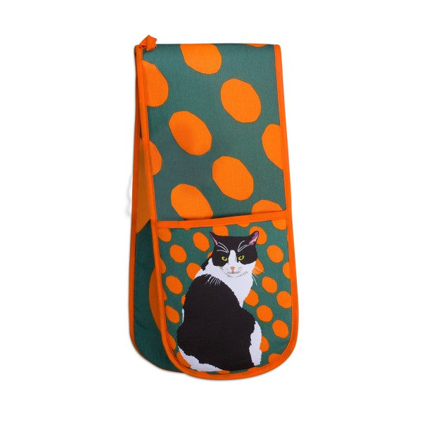 Black and White Cat Double Oven Gloves