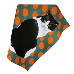 Black and White Cat Tea Towel by Leslie Gerry